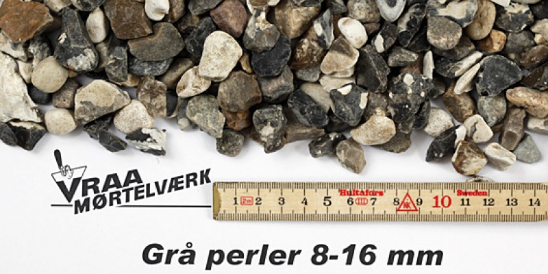 Grå perler 8 - 16 mm