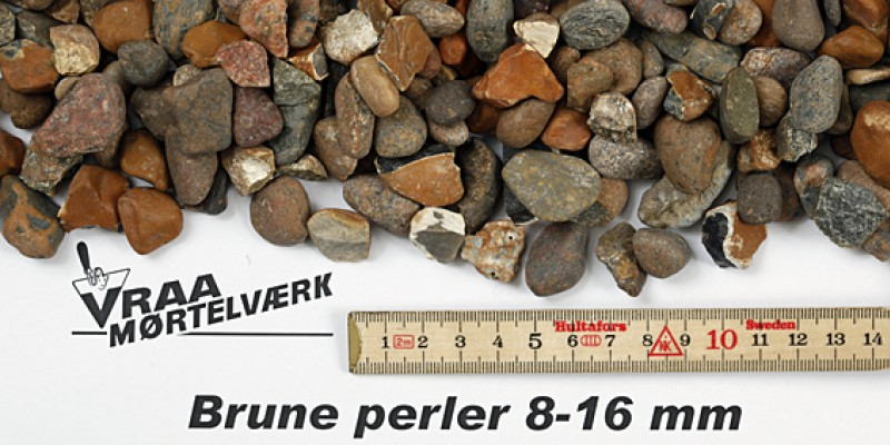 Brune perler 8 - 16 mm